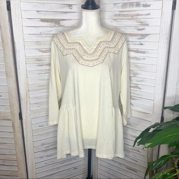 LOGO Lori Goldstein Women's Embroidered Tunic Tee Top Cotton Ivory Beige L